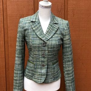 Harold's Green Tweed Blazer Floral Pearl Buttons